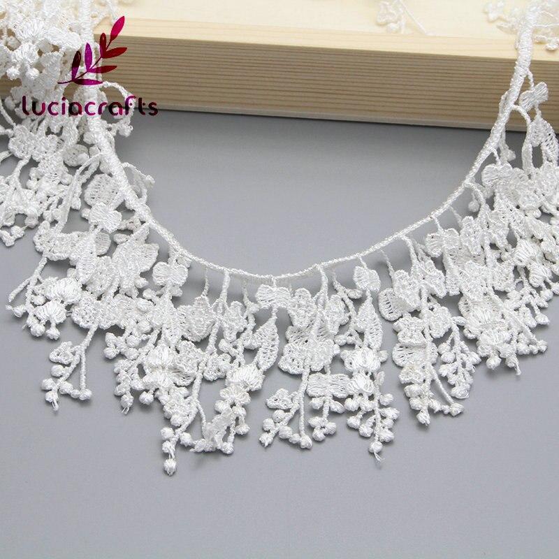 Lucia ремесла 1y/lot 13 см белый ленточки вышитые кружево ткань отделкой ленты DIY Вышивание материалы ручной работы для поделок 050025116