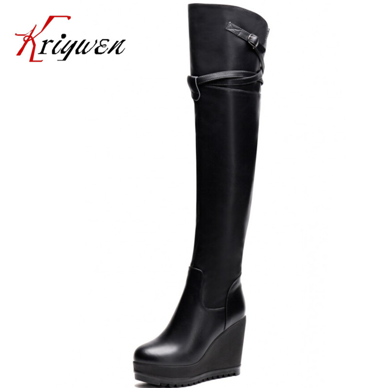 ФОТО 2015 winter new fashion round Toe Over-the-Knee boots women knight long boots genuine leather wedges thick high heels lady shoes