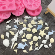 DIY Lovely Shell Starfish Conch Sea Silicone Mold Fish Mermaid Tail Fondant Cake Decorating Tools Soap Chocolate