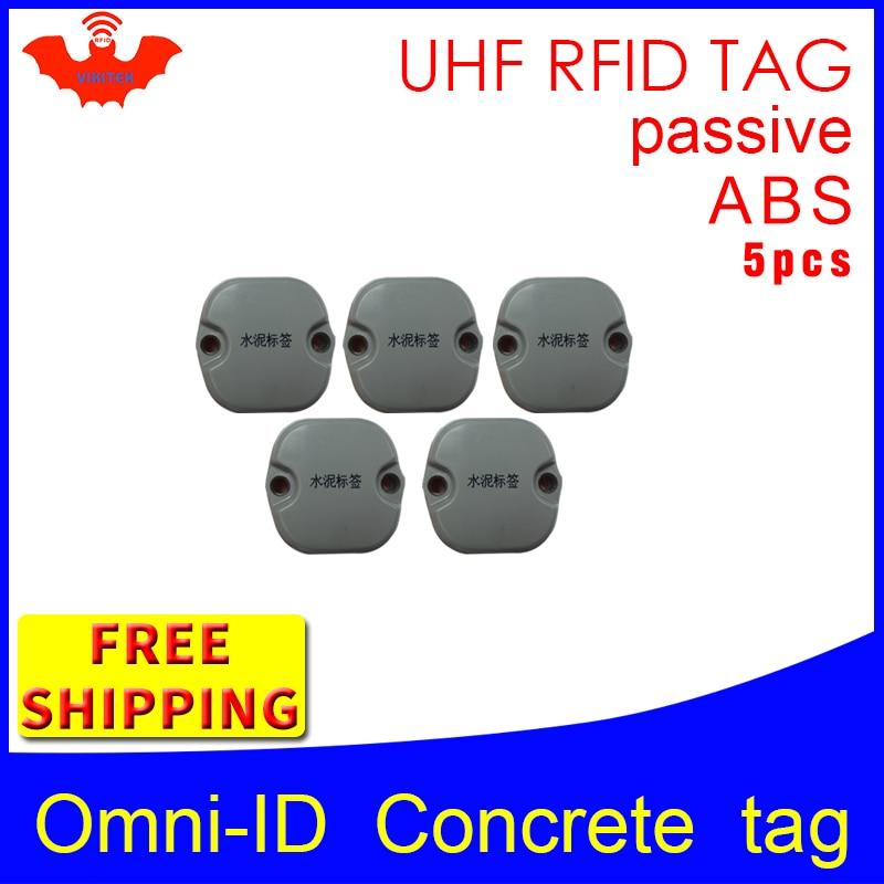 UHF RFID Concrete tag omni-ID 915mhz 868mhz Impinj Monza4QT EPC 5pcs free shipping durable ABS smart card passive RFID tags