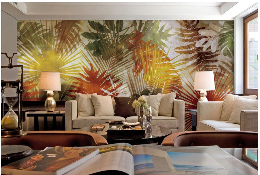 Custom 3d photo wallpaper 3d wall murals wallpaper palm for Digital print wallpaper mural