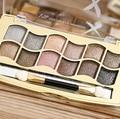 Belleza 12 Colores Paleta de Sombra De Ojos De Diamante Marca Pigmento Kit Del Cepillo Del Maquillaje de Sombra de Ojos Paleta de Sombra de ojos A Prueba de agua