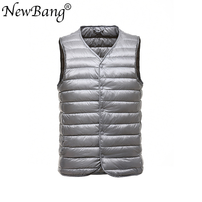 NewBang Brand Men Down Vest Ultra Light Down Vest Male Portable V-neck Sleeveless  Without Collar Warm Liner