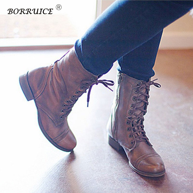 cab23ff197b42 BORRUICE Autumn And Winter New Short Tube Shoes Leather Military Boots  Women Vintage Flat Lace Up Buckle Ankle Boots zapatos