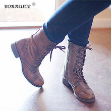 BORRUICE Autumn And Winter New Short Tube Shoes Suede Military Boots Women Vintage Flat  Lace Up Buckle Ankle Boots zapatos