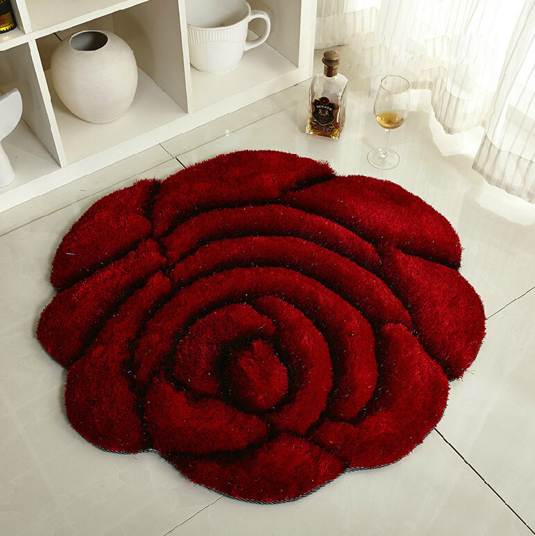 Whole Rose Carpet Bedroom Rug Love Floor Three Dimensional Circle Home Decor Chair Mat Bedside 90 90cm In From Garden On