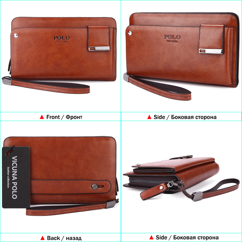 abc1a4049b VICUNA POLO Famous Brand Business Men Money Bag With Rotatable Card Holder Large  Capacity Clutch High Quality Leather Men Wallet-in Wallets from Luggage ...