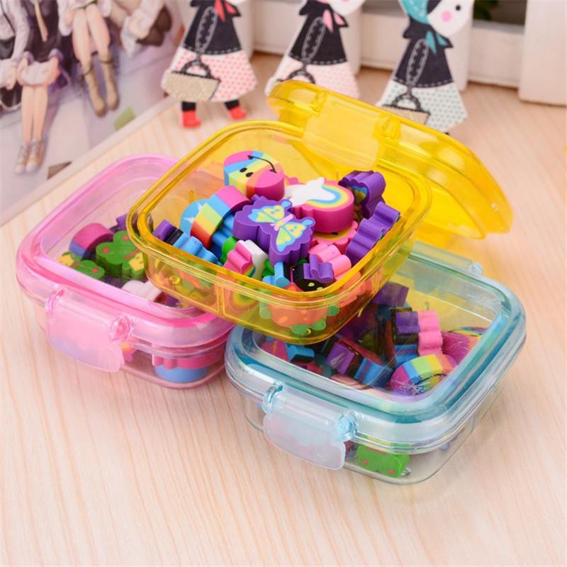1 Box of Lovely Rubber Eraser Set Stationery Novelty for Children Gift and Student School Supplies random Color