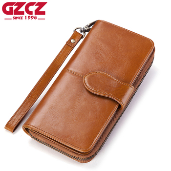 GZCZ Female Zipper Wallet Genuine Leather Women Coin Purse Long Woman Wallets Clutch ID Card Holder Phone Pocket Clamp For Money
