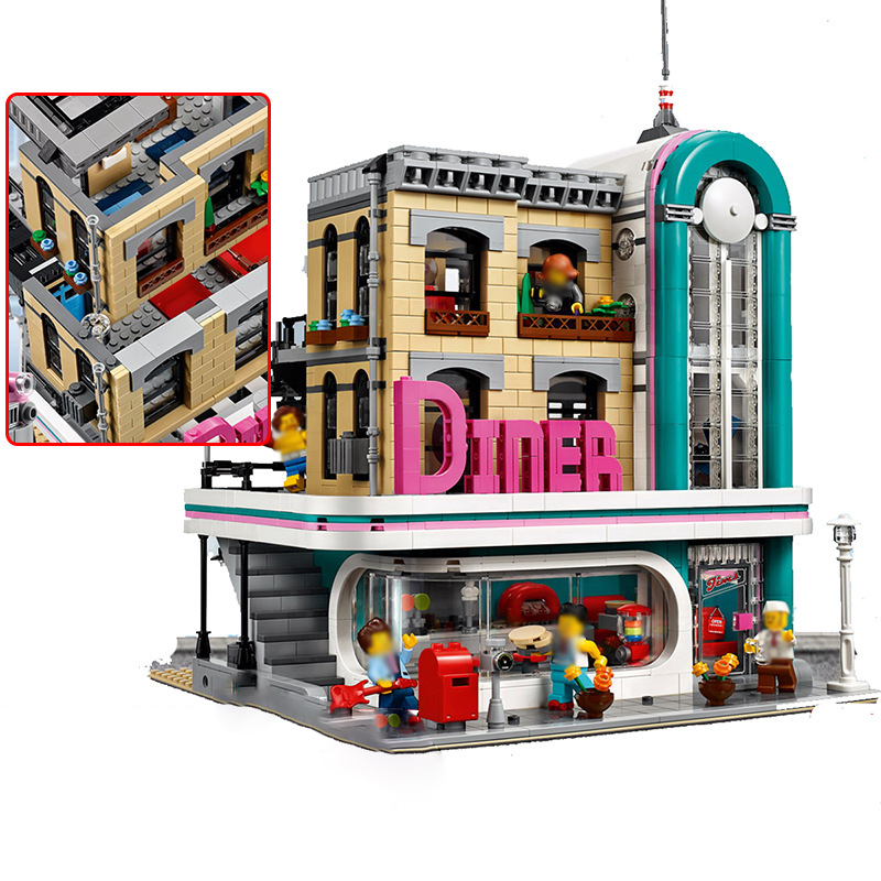 Lepin 15037 Streetview Downtown Diner Compatible 10260 Restaurant Model Building Kits Blocks Bricks Funny Toys for Children Gift lepin 02012 city deepwater exploration vessel 60095 building blocks policeman toys children compatible with lego gift kid sets