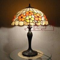 16 дюймов плоти страна цветы Тиффани настольные лампы страна Стиль пятнистости Стекло лампы для Спальня E27 110 240 В