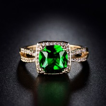 XIAGAO Luxury Green Square Crystal 4 Prongs Setting Round Top AAA Cubic Zircon Rings for Women Fashion jewelry Party Rings R317