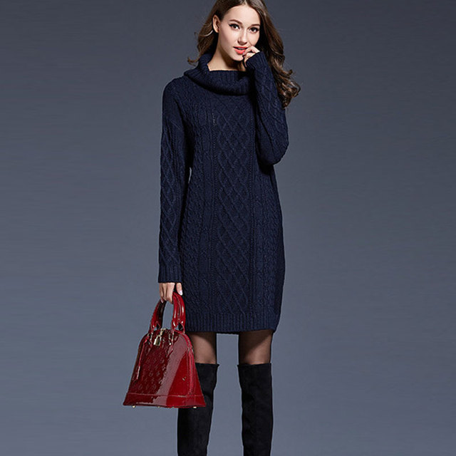 Dresses Winter Jyconline Turtleneck Pullover Sweater Dress Knitted g7Ybf6y