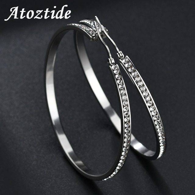 ca0e6c86d Atoztide New Arrival Stainless Steel Big Crystal Hoop Earrings Silver Color  Hollow Round Basketball Wives Earrings