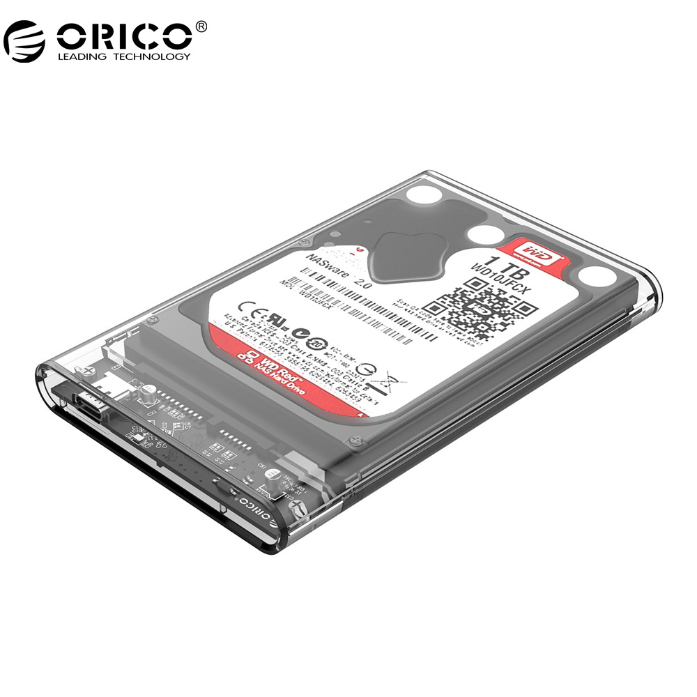 Orico 2.5 inch HDD Case Transparent TYPE-C to Sata 3.0 Tool Free 5 Gbps SSD Adapter Support 2TB UASP Hard Drive Enclosure 2139C3 orico 2578u3 2 5 inch ssd case usb3 0 micro b external hard drive disk enclosure high speed case for 7mm support uasp sata iii