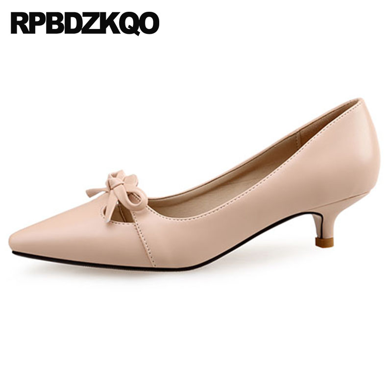 Bow Fashion Size 33 Women Leather Grey Shoes 2018 4 34 Pointed Toe Office Sweet Plus Elegant Medium Heels Customized Nude Kitten bow size 33 cute 2018 3 inch pumps korean medium heels pointed toe 4 34 thin kawaii sweet kitten nude blue suede shoes women