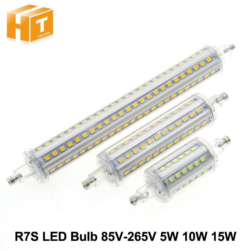 R7S светодиодный лампы 85 В-265 В 5 Вт 10 Вт 15 Вт светодиодный мозоли 78 мм 118 мм 192 мм для потока лампы энергосберегающие заменить галогенной лампы