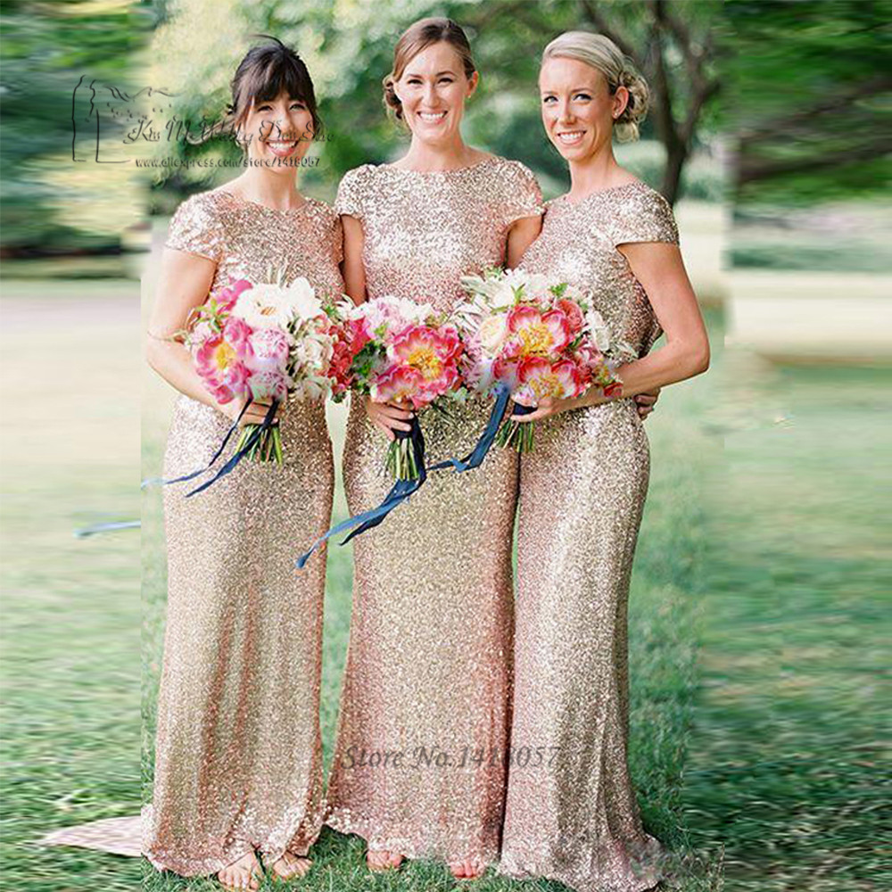 Backless Gold Sequin   Bridesmaid     Dress   Mermaid Long Wedding Party   Dresses   Champagne Floor Length Cap Sleeve Vestido de Festa 2017