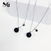 SG 2019 new arrival 925 Sterling silver Ball Bead Blue Sand necklaces pendants fit fashion jewelry chain necklace women for gift цена