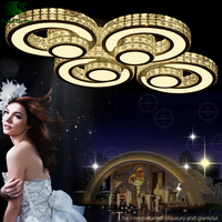 Modern Luxury Lustre K9 Crystal Luminarie Led Chandelier Metal Circle Rings Dimmable Ceiling Chandelier Lighting Fixtures