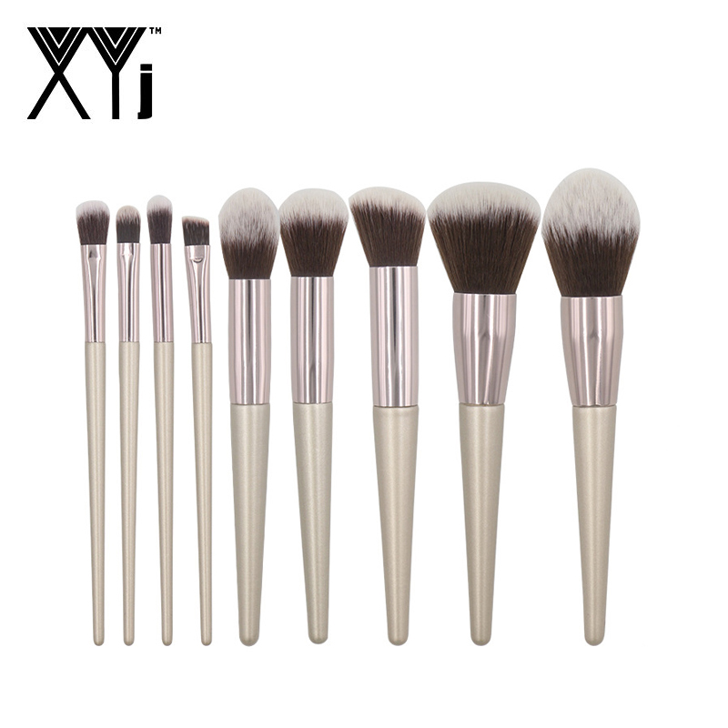 9pcs Maquillage Kit Champagne Makeup Brushes Set For Foundation Powder Blush Lip Eyeshadow Make Up Brush Cosmetics Beauty Tools9pcs Maquillage Kit Champagne Makeup Brushes Set For Foundation Powder Blush Lip Eyeshadow Make Up Brush Cosmetics Beauty Tools