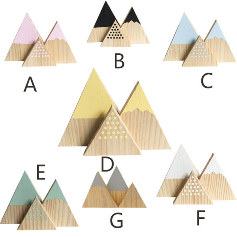 3pcs/set Nordic Top Woodland Wood Mountain Decorative Handmade Kids Bookends Home Decor Wooden Mountain Baby's Room Decor