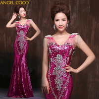 High Quality Mermaid Evening Dresses Formal Long Party Prom Dresses Luxury Crystal Long Green Red Royal Blue Dress Evening Gown