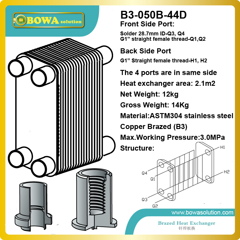 B3-050B-44D brazed stainless steel working as evaporator in refrigeration plants and heat pumps or water temperature machines b3 026b 26d copper brazed stainless steel big hole type plate heat exchanger for heating equipment and water chiller 7kw r22