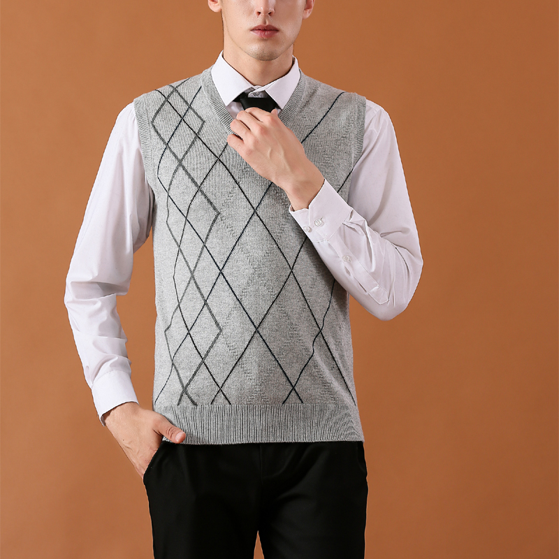 High Quality Mens Sweaters Casual Style Wool Knitted Business Men Sleeveless Vest Plus Size 3XL Brand Brown Gray V-neck Vest