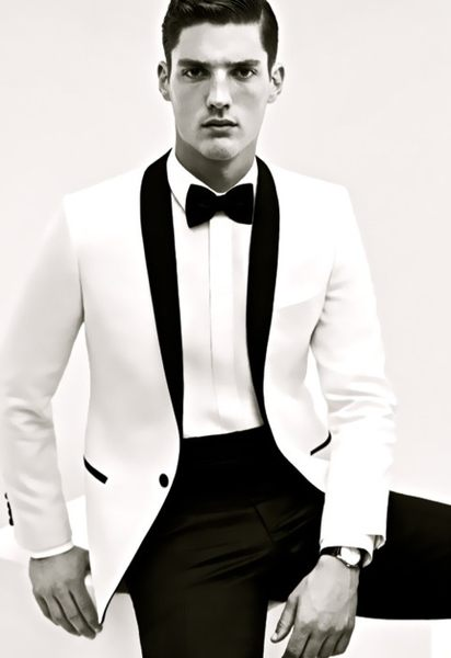 Cheap price 2015 New Hot sale tuxedos White men's dress Color process Shawl collar white groom suits ( jacket+Pants+tie)