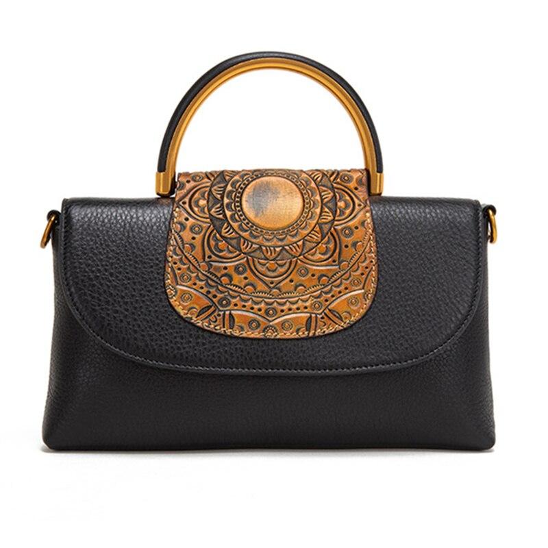Famous Designer Women Genuine Leather Handbags Small Clutch Tote Bag Ladies Retro Elegant Messenger Bag Embossed