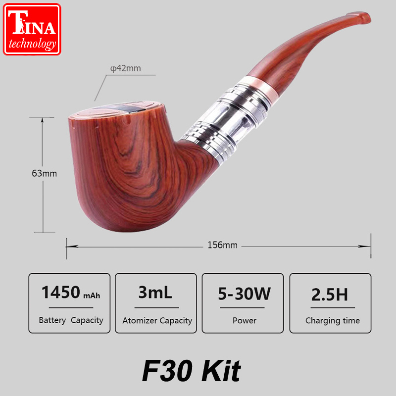 New ePipe F30 Kit Electronic cigarette E pipe vape 3ml Atomizer 30w wattage adjustable wooden VS