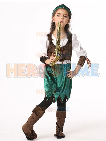 Dazzling Pirate Fancy Dress Halloween Buccaneer Kids Cosplay Costume