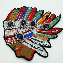 3D Handmade indian head beaded Patches for clothing DIY ethnic style embroidered parches Embroidery flowers applique