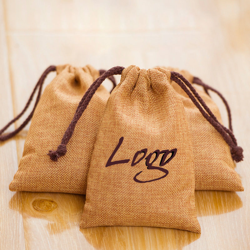 Flax Linen Jewelry Gift Bags 8x11cm 9x12cm 10x15cm 13x17cm Pack Of 50 Can Print Logo  Candy Sack Makeup Jute Drawstring Pouch