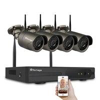 Techage 720 P 4CH Wi-Fi Камера видеонаблюдения Системы 1MP Беспроводной 2 ТБ HDD NVR открытый Ночное видение P2P комплект видеонаблюдения Eseecloud