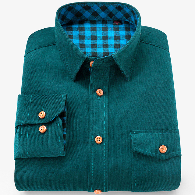 Brand 100% Cotton Corduroy Mens Dress Shirts Solid Color Men Thickening Long Sleeve Flannel Casual Shirt Men Camisa 3
