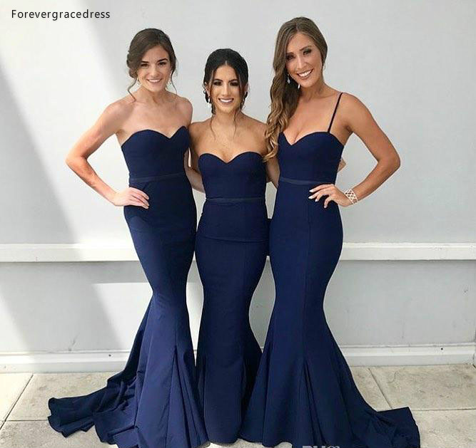 Cheap Navy Blue   Bridesmaid     Dress   Simple Western Summer Country Garden Formal Wedding Party Guest Maid of Honor Gown Plus Size