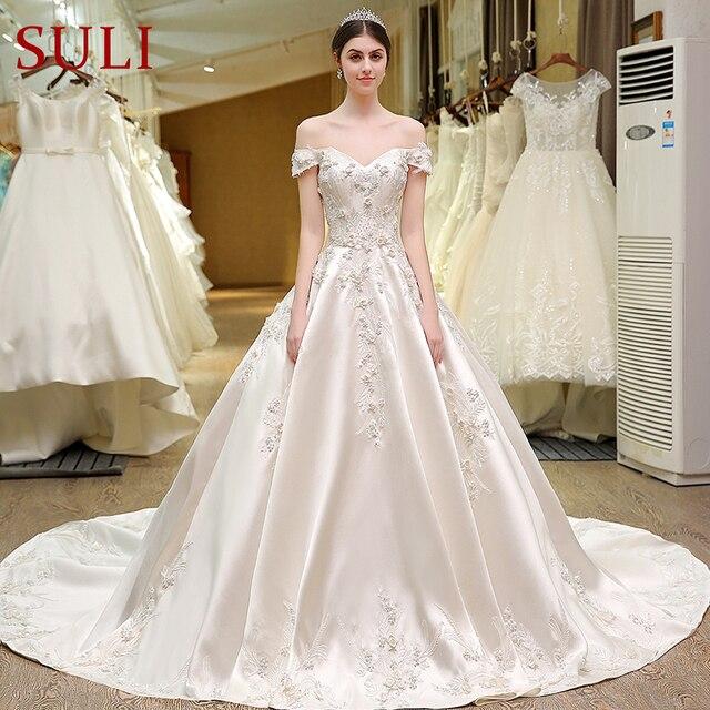 Sl 82 Sweetheart Bling Bridal Gowns Designer Vestido De Noiva Lace Wedding Dress Turkey