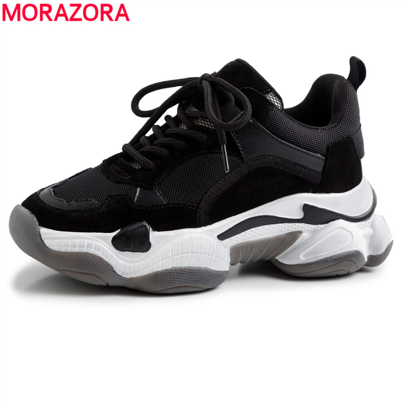 2019 New Genuine Leather Women Sneakers Casual Shoes Woman