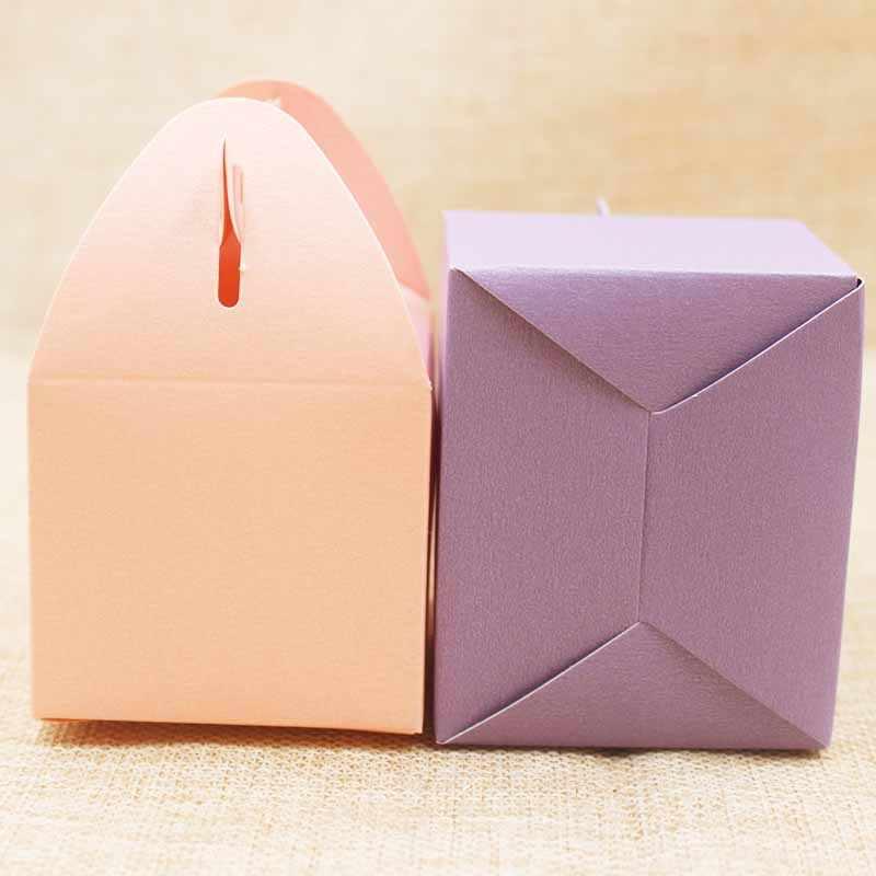 Caixa de presente de papel branco diy. Velas de cor de mulli/caixa de embalagem do lembrancinho do casamento. Caixa de presente em cor de rosa/roxo 10 peças por lote