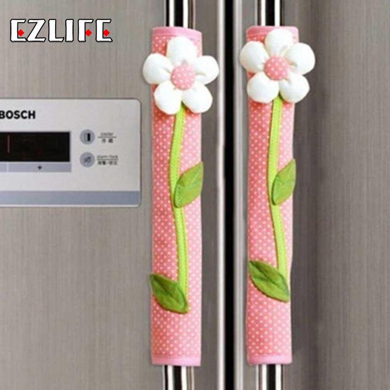 Refrigerator Handle Cover Flower Polka Dot Print Fridge Door Handle Gloves Home Decor Kitchen Handle Cover Accessories Tools