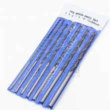 7pc 300mm lengthened three-pointed woodworking drill hanging bag 4-12mm centering hole set