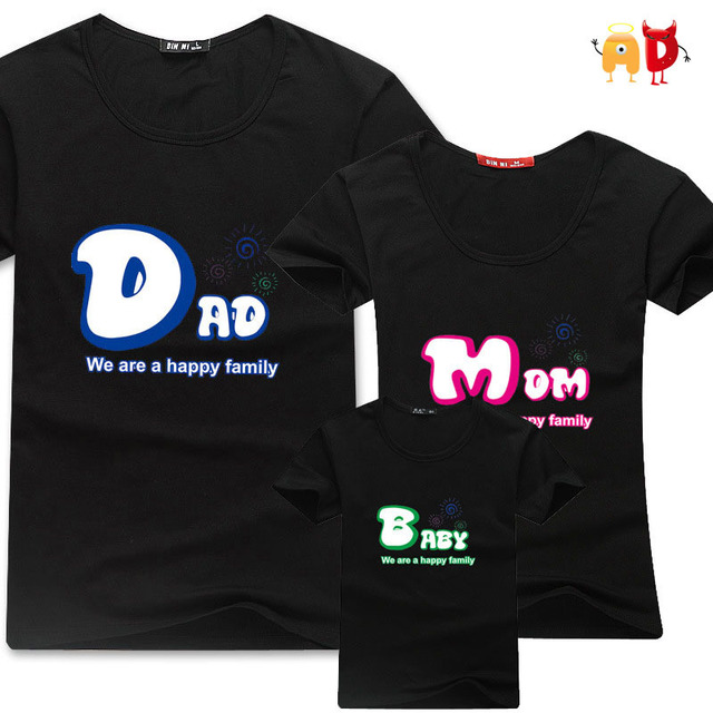 AD Family T shirts Quality Cotton Summer Style Matching Mom Dad Baby Clothes  Mommy and Me Clothes Parent Child Couple T-shirts 906dad68d6