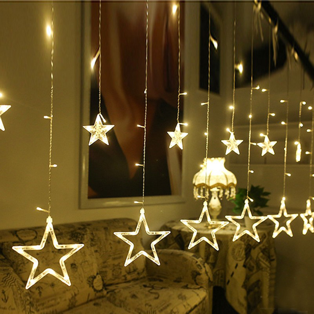 2.5m 138 Leds Icicle Led Star Fairy Lights Christmas Garland Curtain String Lights Star Lamp  Wedding Party New Year Decoration