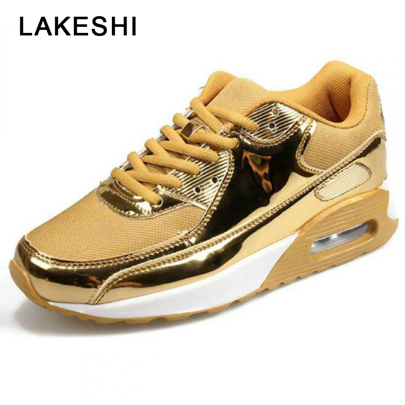 LAKESHI Casual Men Shoes Fashion Sneakers Man Breathable Mesh Shoes Gold Silver Walking Shoes Comfortable Cushion Male ShoesLAKESHI Casual Men Shoes Fashion Sneakers Man Breathable Mesh Shoes Gold Silver Walking Shoes Comfortable Cushion Male Shoes