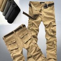 Mới nhất Big size 28-44 Men Cargo Pants Quân Xanh Khaki đen Đa Pockets Trang Trí Giản Dị Dễ Dàng Rửa Nam Mùa Xuân Mùa Thu quần