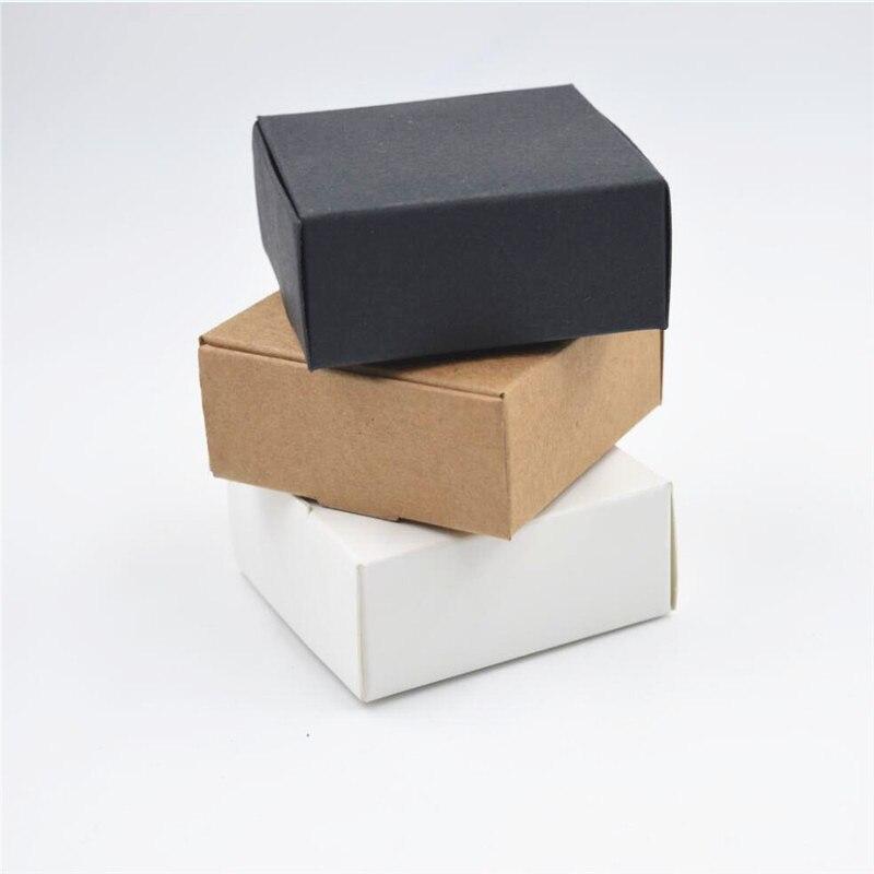 White Black Kraft box for packaging 1pc Brown handmade soap paper boxes Qo