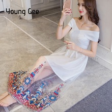 Young Gee Women Spring Sexy Bodycon Embroidery Floral Lace Party Dress Bandage Corset Top Off Shoulder Stretchy Dresses Vestidos
