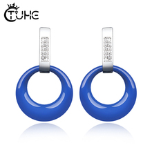 Forever Clear CZ Circle Round Stud Earrings With Beautiful Cubic Zirconia Healthy Ceramic Jewelry Bijoux for Women Gift